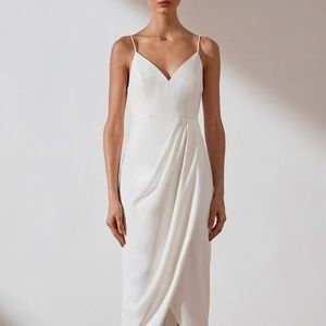 Cocktail Draped Dress - Shona Joy - White